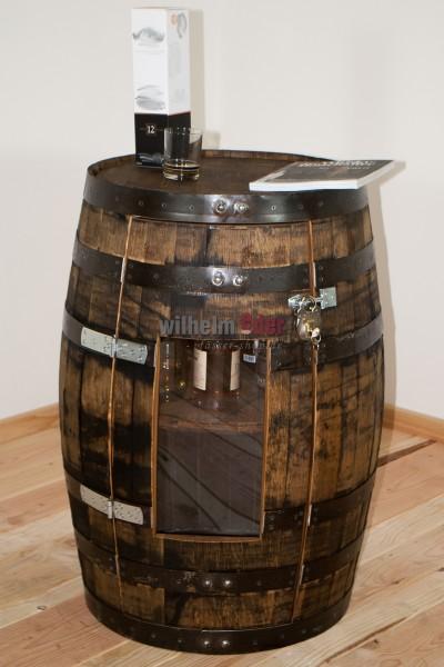 Tonneau de bourbon d'origine utilisé comme étagère 190 l, porte avec une vitre en plexiglas compris.