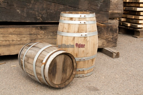 Baril de décoration en bois châtaignier - optique vintage