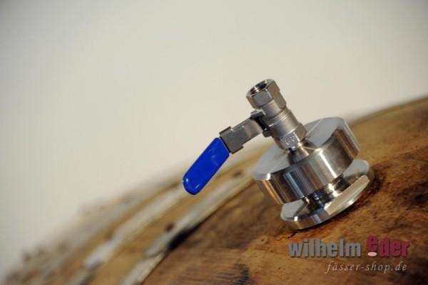 Fermeture avec valve de robinet à rotule