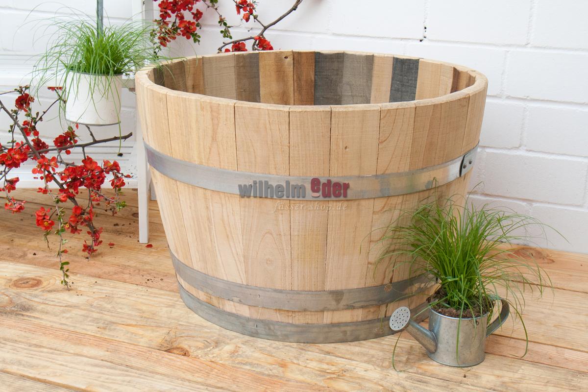 Lot de 2 Plastique Bois Grain Effet tonneau bac jardiniere pot-Noir 34 cm Planters